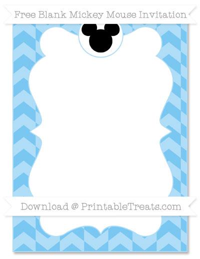 Free Pastel Light Blue Herringbone Pattern Blank Mickey Mouse Invitation