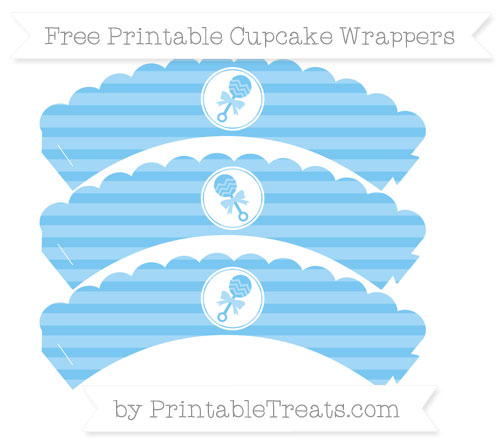 Free Pastel Light Blue Horizontal Striped Baby Rattle Scalloped Cupcake Wrappers