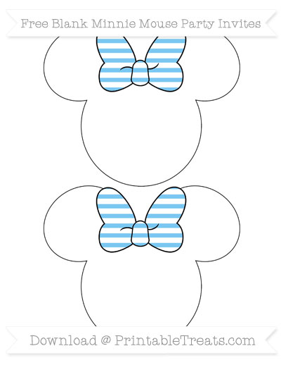 Free Pastel Light Blue Horizontal Striped Blank Minnie Mouse Party Invites