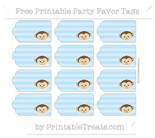 Free Pastel Light Blue Horizontal Striped Boy Monkey Party Favor Tags