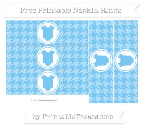 Free Pastel Light Blue Houndstooth Pattern Baby Onesie Napkin Rings