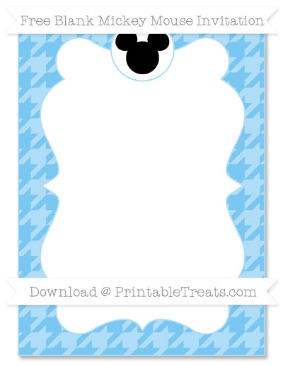 Free Pastel Light Blue Houndstooth Pattern Blank Mickey Mouse Invitation