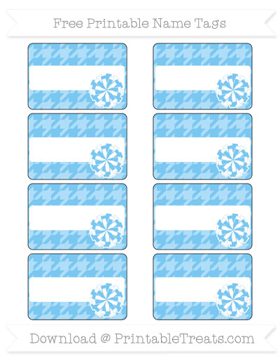 Free Pastel Light Blue Houndstooth Pattern Cheer Pom Pom Tags