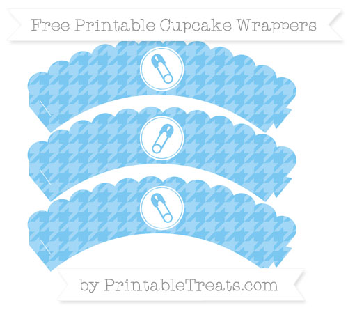 Free Pastel Light Blue Houndstooth Pattern Diaper Pin Scalloped Cupcake Wrappers