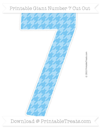 Free Pastel Light Blue Houndstooth Pattern Giant Number 7 Cut Out