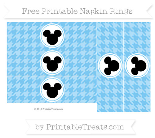 Free Pastel Light Blue Herringbone Pattern Mickey Mouse Napkin Rings