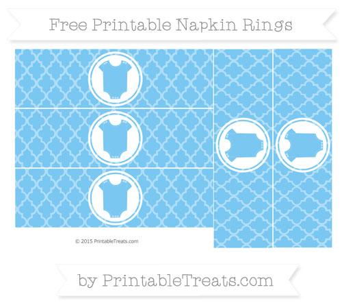 Free Pastel Light Blue Moroccan Tile Baby Onesie Napkin Rings