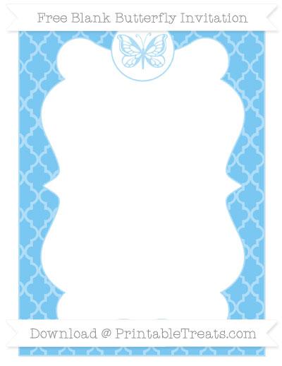 Free Pastel Light Blue Moroccan Tile Blank Butterfly Invitation