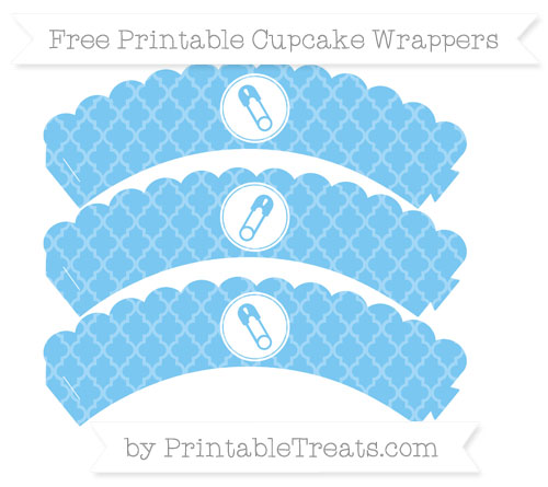 Free Pastel Light Blue Moroccan Tile Diaper Pin Scalloped Cupcake Wrappers