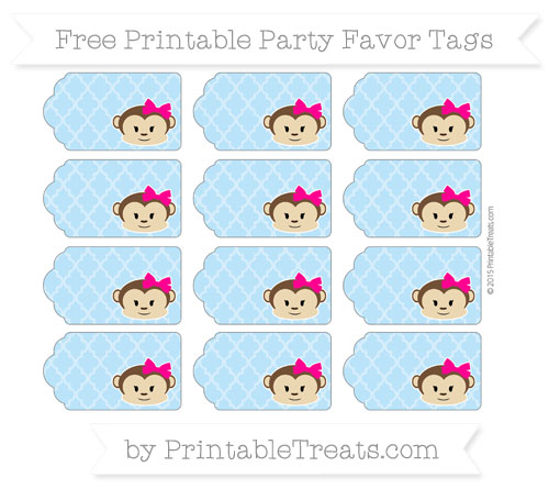 Free Pastel Light Blue Moroccan Tile Girl Monkey Party Favor Tags