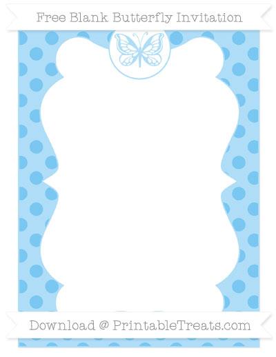 Free Pastel Light Blue Polka Dot Blank Butterfly Invitation