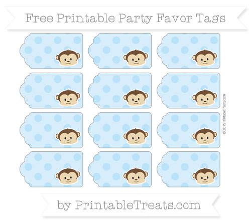 Free Pastel Light Blue Polka Dot Boy Monkey Party Favor Tags