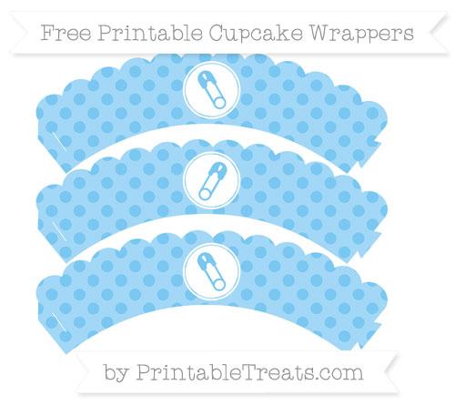 Free Pastel Light Blue Polka Dot Diaper Pin Scalloped Cupcake Wrappers