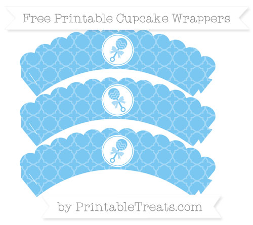 Free Pastel Light Blue Quatrefoil Pattern Baby Rattle Scalloped Cupcake Wrappers