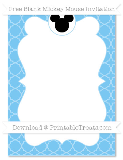 Free Pastel Light Blue Quatrefoil Pattern Blank Mickey Mouse Invitation