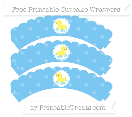 Free Pastel Light Blue Star Pattern Baby Duck Scalloped Cupcake Wrappers