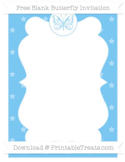 Free Pastel Light Blue Star Pattern Blank Butterfly Invitation