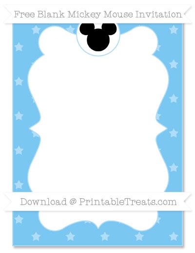 Free Pastel Light Blue Star Pattern Blank Mickey Mouse Invitation