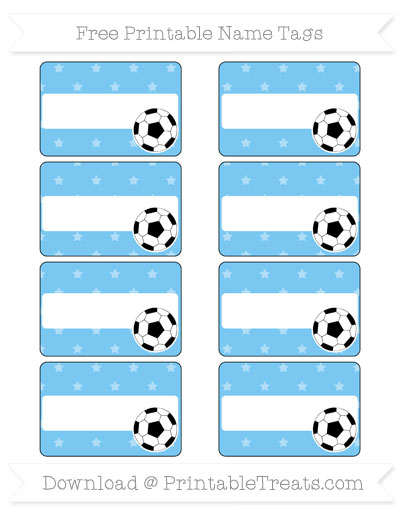 Free Pastel Light Blue Star Pattern Soccer Name Tags