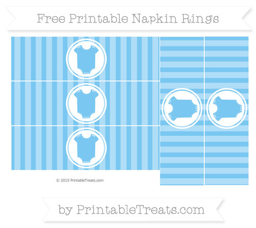 Free Pastel Light Blue Striped Baby Onesie Napkin Rings