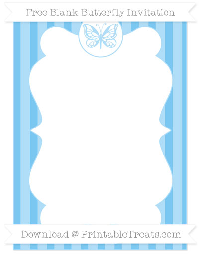 Free Pastel Light Blue Striped Blank Butterfly Invitation
