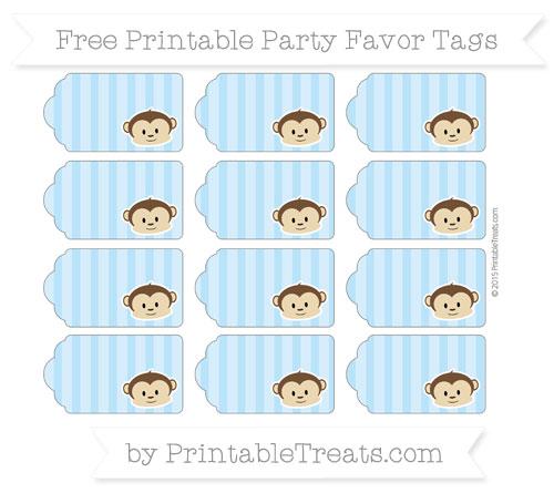 Free Pastel Light Blue Striped Boy Monkey Party Favor Tags