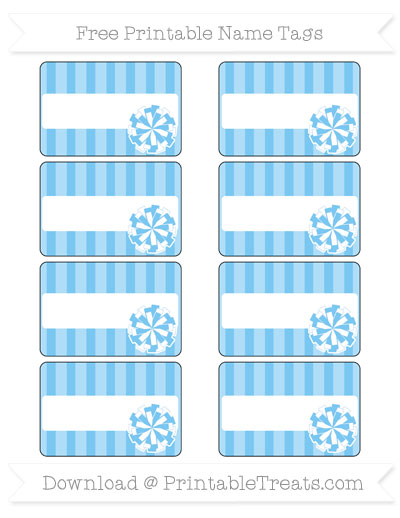 Free Pastel Light Blue Striped Cheer Pom Pom Tags