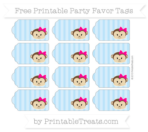Free Pastel Light Blue Striped Girl Monkey Party Favor Tags