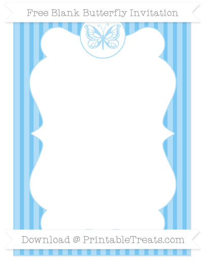 Free Pastel Light Blue Thin Striped Pattern Blank Butterfly Invitation