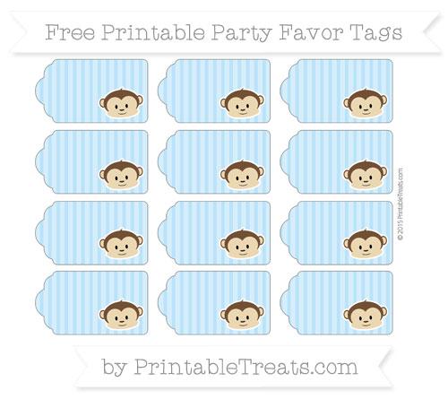 Free Pastel Light Blue Thin Striped Pattern Boy Monkey Party Favor Tags