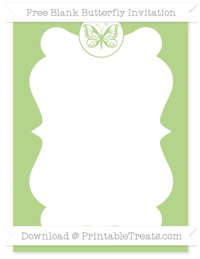 Free Pastel Light Green Blank Butterfly Invitation