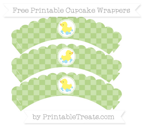 Free Pastel Light Green Checker Pattern Baby Duck Scalloped Cupcake Wrappers