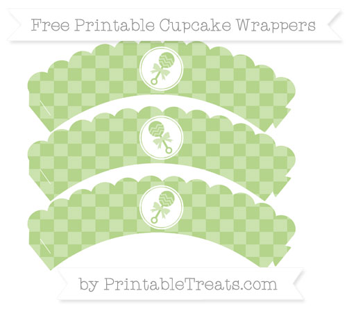 Free Pastel Light Green Checker Pattern Baby Rattle Scalloped Cupcake Wrappers