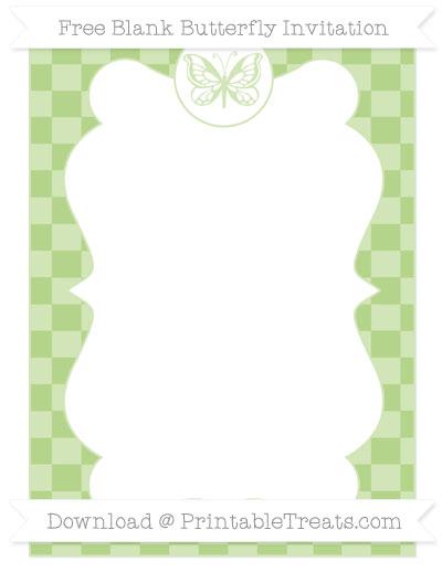 Free Pastel Light Green Checker Pattern Blank Butterfly Invitation