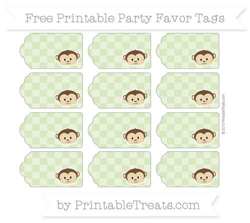 Free Pastel Light Green Checker Pattern Boy Monkey Party Favor Tags