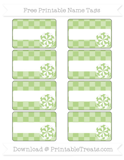 Free Pastel Light Green Checker Pattern Cheer Pom Pom Tags
