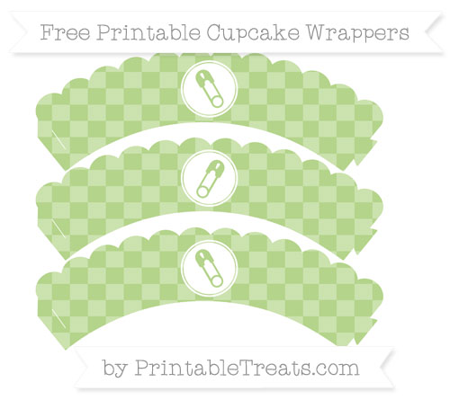 Free Pastel Light Green Checker Pattern Diaper Pin Scalloped Cupcake Wrappers