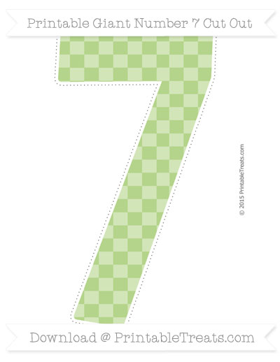 Free Pastel Light Green Checker Pattern Giant Number 7 Cut Out