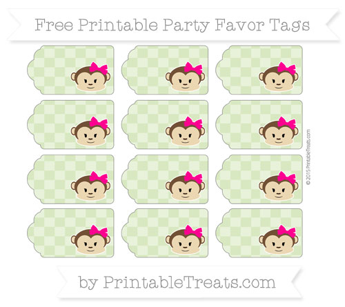Free Pastel Light Green Checker Pattern Girl Monkey Party Favor Tags