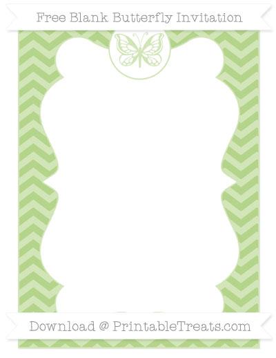 Free Pastel Light Green Chevron Blank Butterfly Invitation