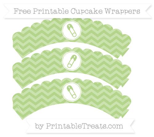 Free Pastel Light Green Chevron Diaper Pin Scalloped Cupcake Wrappers