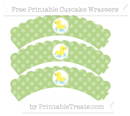 Free Pastel Light Green Dotted Pattern Baby Duck Scalloped Cupcake Wrappers