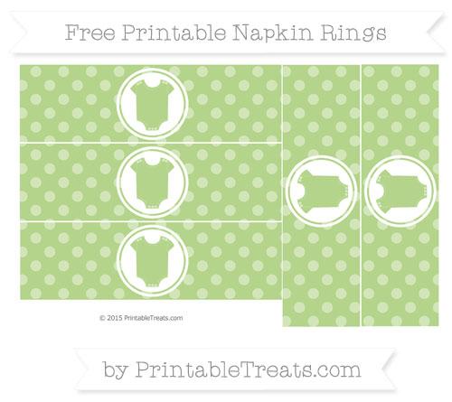 Free Pastel Light Green Dotted Pattern Baby Onesie Napkin Rings