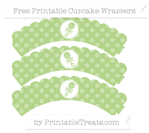 Free Pastel Light Green Dotted Pattern Baby Rattle Scalloped Cupcake Wrappers