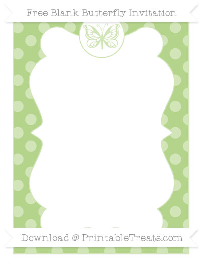 Free Pastel Light Green Dotted Pattern Blank Butterfly Invitation