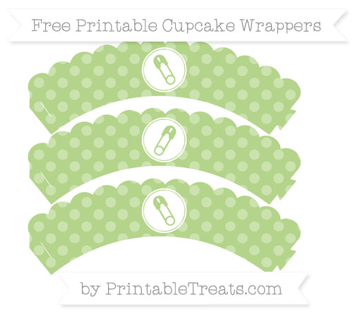 Free Pastel Light Green Dotted Pattern Diaper Pin Scalloped Cupcake Wrappers