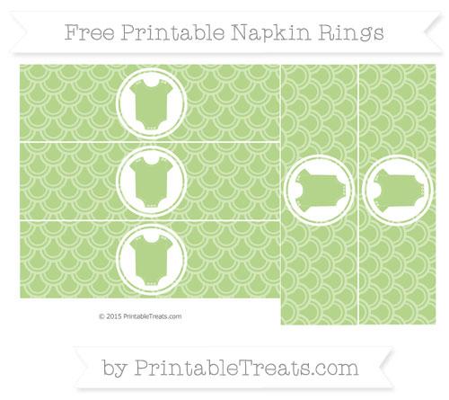 Free Pastel Light Green Fish Scale Pattern Baby Onesie Napkin Rings