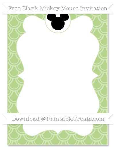 Free Pastel Light Green Fish Scale Pattern Blank Mickey Mouse Invitation