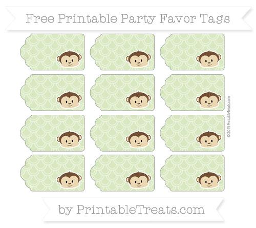 Free Pastel Light Green Fish Scale Pattern Boy Monkey Party Favor Tags