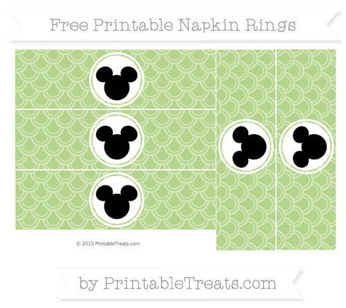 Free Pastel Light Green Fish Scale Pattern Mickey Mouse Napkin Rings